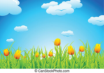 Tulip Garden - illustration of landscape with tulip garden ...