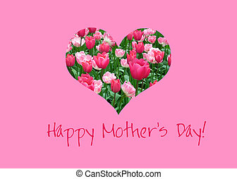 Tulip heart mother's day card