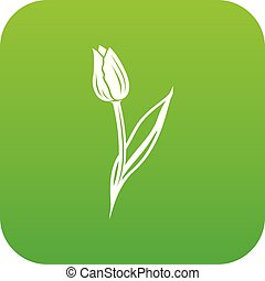 Tulip icon green vector