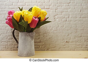 Tulip in Metal vase home decoration