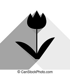 Tulip sign. Vector. Black icon with two flat gray shadows on white background.