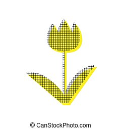 Tulip sign. Vector. Yellow icon with square pattern duplicate at