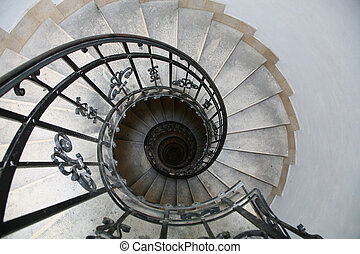 Tulip Stair - Spiral staircase, lit from above in  Budapest