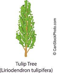 Tulip tree icon, flat style - Tulip tree icon. Flat ...