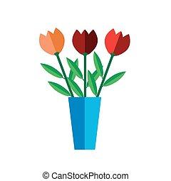 Tulip vase on white background flat
