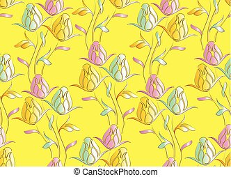 tulipa, cute, flor, seamless, padrão