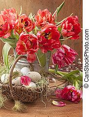 tulipa, flores, e, ovos páscoa