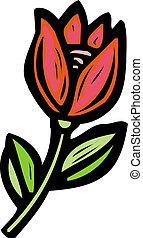 tulipan, Rysunek, czerwony