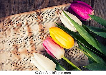 tulipaner, på, en, musik noterer, avis