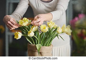 tulipanes, Decorar, mujer