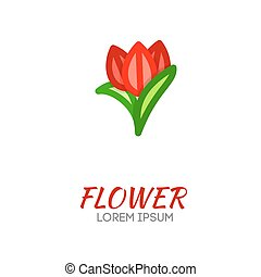 tulipanes, flor, vector, logo., flores, compañía, logo.,...