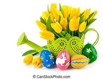 tulipanes, huevos, regar, amarillo, lata, pascua