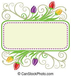 tulipanes, marco, primavera