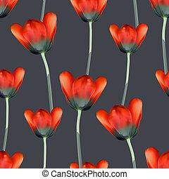 tulipanes, realista, seamless, patrón