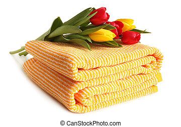 tulipanes, toalla de baño, fresco