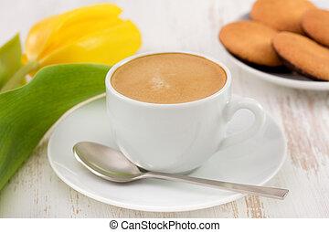 tulipano, biscotti, tazza, giallo, caffè