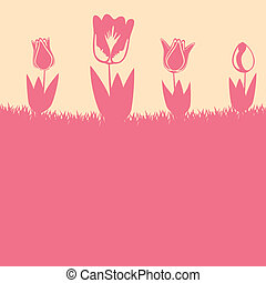 tulipano, fiori, fondo