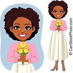 tulipany, amerykańska kobieta, żółty, afrykanin
