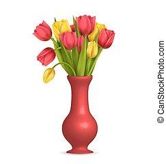 tulipany, biały, odizolowany, wazon