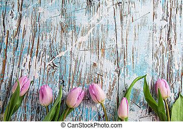 tulipany, i, pisanki, na, drewniany, tło