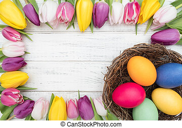 tulipany, jaja, wielkanoc