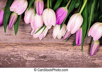 tulipany, na, drewno, stary