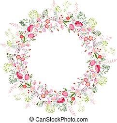 tulipany, ułożyć, okrągły, stylizowany, róże, biały, kontur