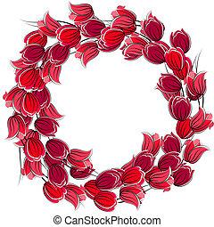 tulipany, ułożyć, stylizowany, czysty, kwiatowy, czerwony