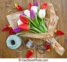 tulipany, wielkanoc, barwny
