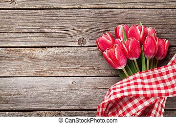 tulipe, fleurs, rouges