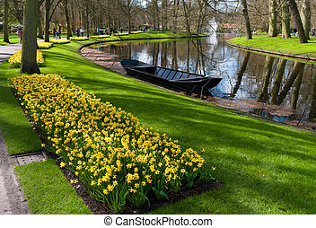 tulipe, jardin, dans, keukenhof, pays-bas
