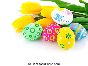 tulipe, oeufs, fleurs, paques, jaune