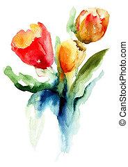 tulipes, beau, fleurs