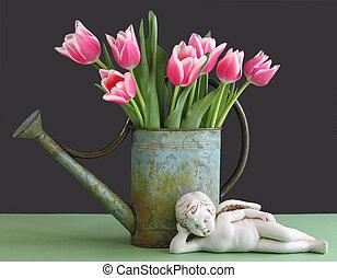 tulipes, dans, arrosoire, à, chérubin