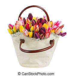 tulipes, fleurs, sac