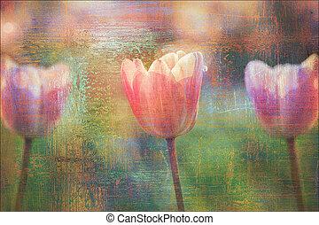 tulipes, fond, beau, fleurs, textured