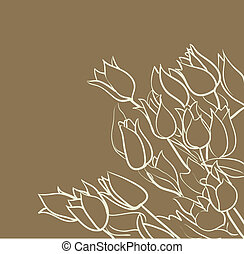tulipes, fond, floral