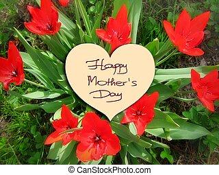 tulipes, heureux, fleurs, jour, mère