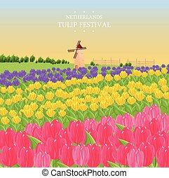 tulipes, illustration, mill., vecteur, printemps, carte
