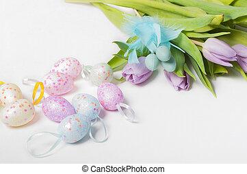 tulipes, oeufs, Paques