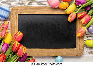 tulipes, oeufs, paques, tableau noir
