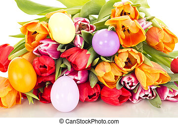 tulipes, oeufs, paques, tas