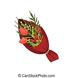 tulipes, paper., trois, bourgogne, arrière-plan., vecteur, blanc, image, tassé