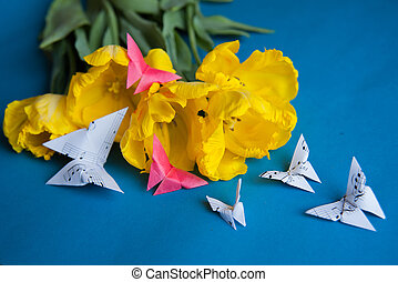 tulipes, papillons
