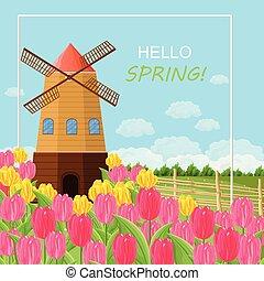 tulipes, printemps, vecteur, carte, mill.