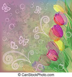 tulipes, résumé, fleurs, fond