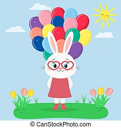 tulipes, sky., soleil, clairière, lapin, garde, ballons, girl, robe, rouges, lunettes