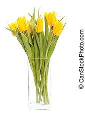 tulips, ваза, желтый