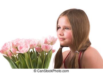tulips, девушка, симпатичная