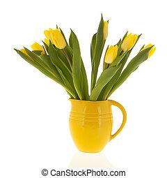 tulips, желтый, ваза